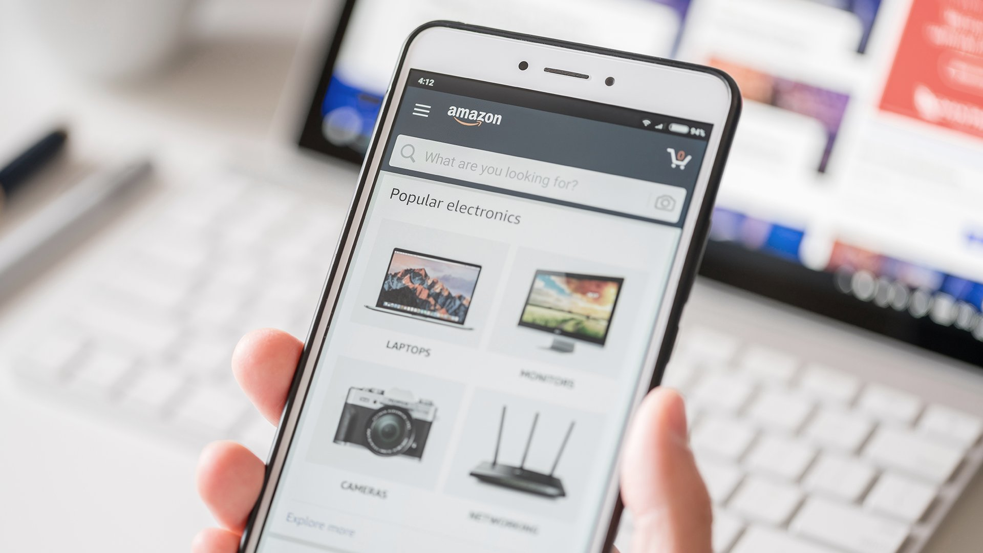 Phone with Amazon search bar
