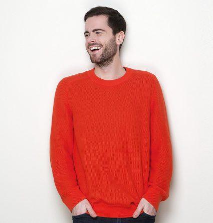 Men's long sleeve red outdoor sweater