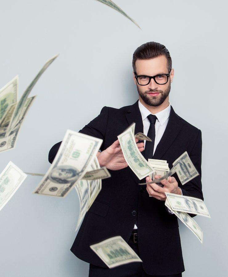 business man throwing money