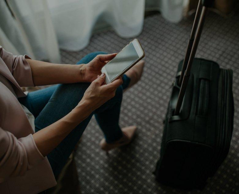 hotel room woman on phone