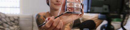 Makeup brush and eyeshadow