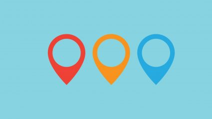 three map icons in red yellow and blue on blue background