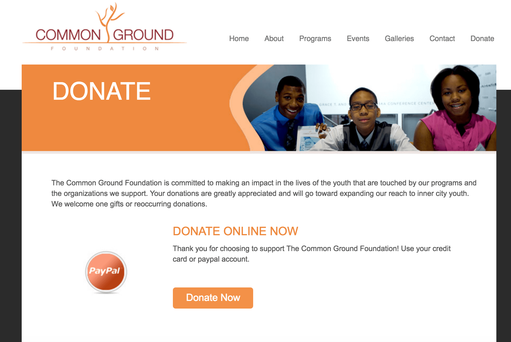 Common Ground Foundation website