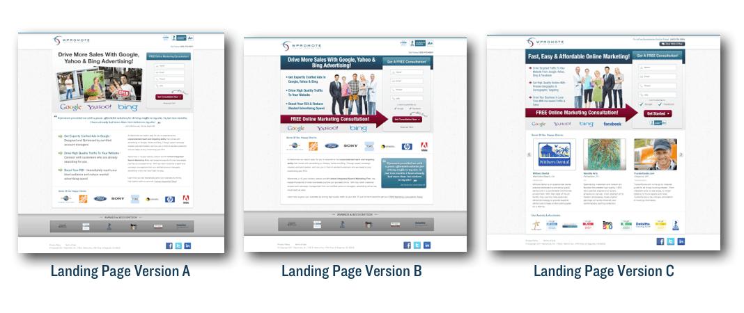 Landing Page Versions
