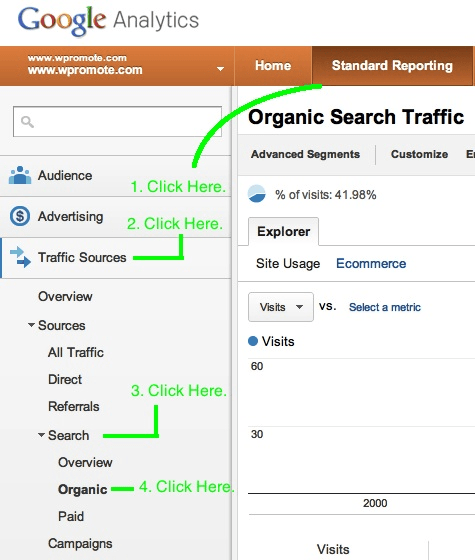 Google Analytics menu with prompts to click here first, second, etc.