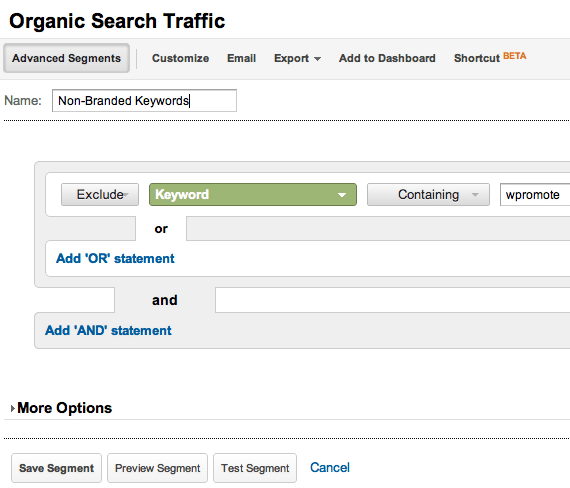 Google Analytics Advanced Segments Tab
