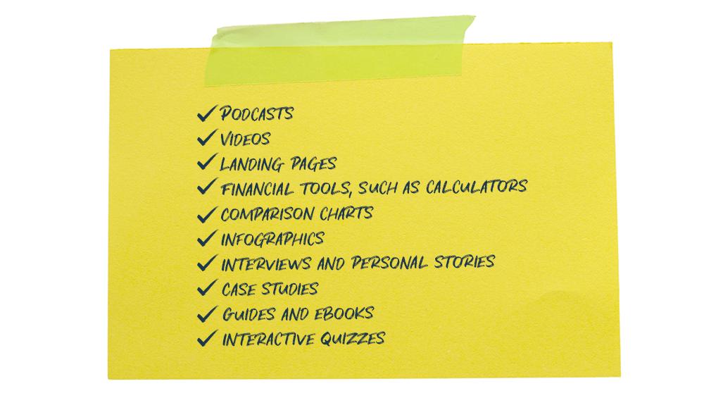 Bank Content Checklist
