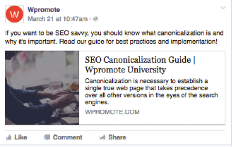 facebook post linking to Wpromote's blog