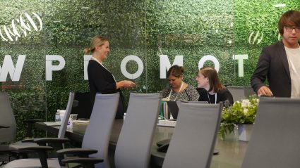 Wpromote conference room with greenery wall in background
