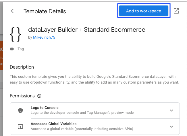Data layer tag template