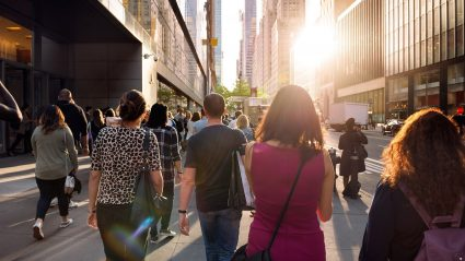 People walking through streets of New York