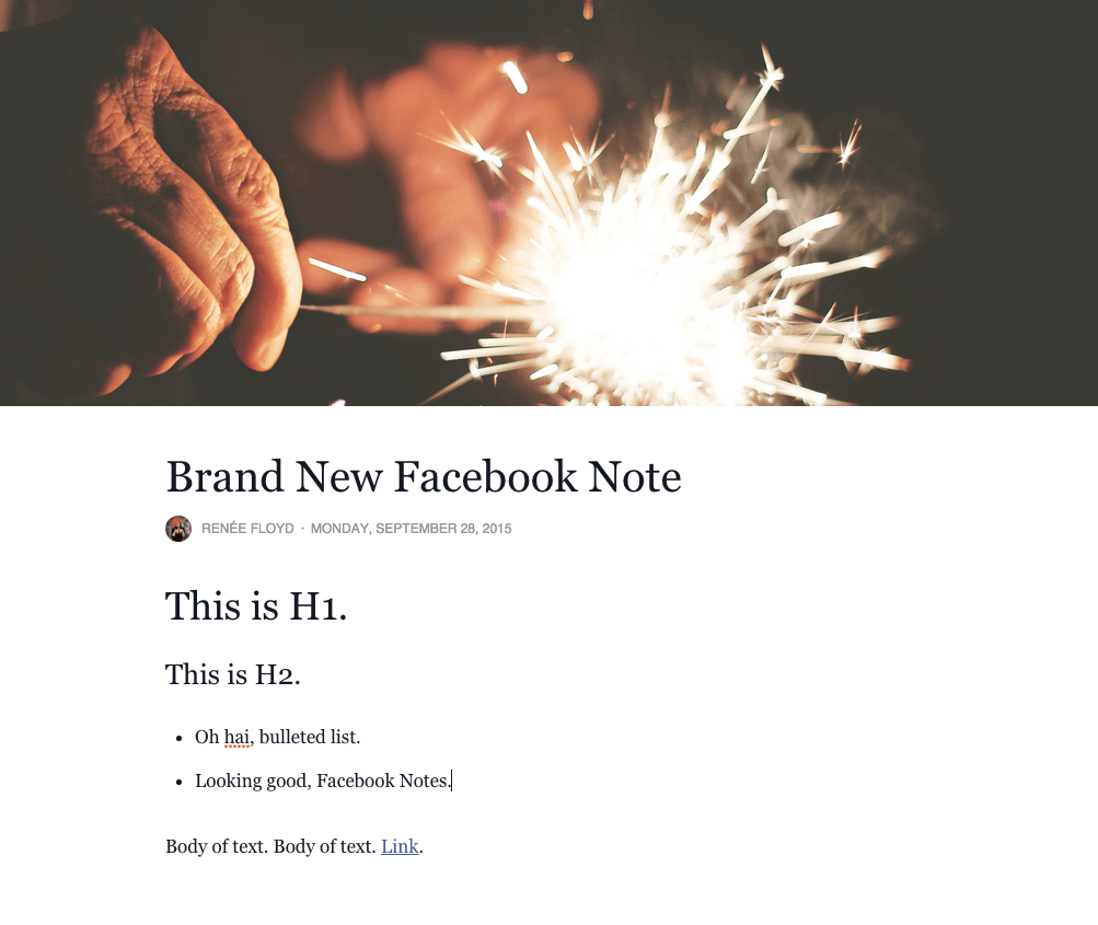 Facebook note example