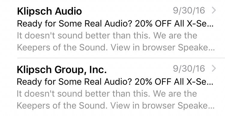 email marketing from name klipsch