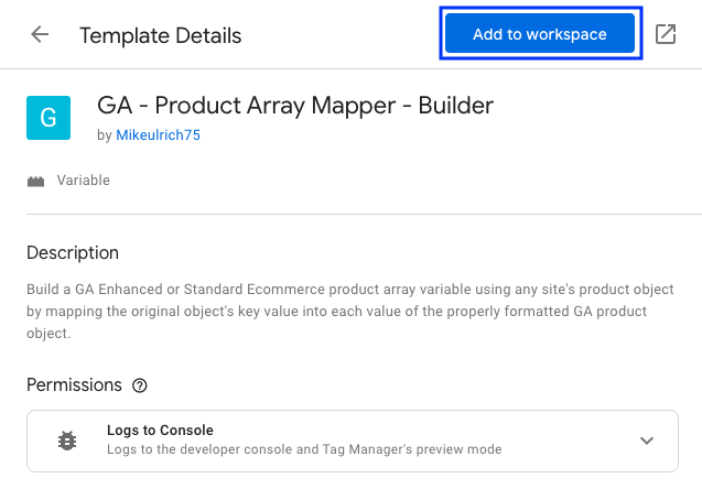 Product Array Mapper variable template