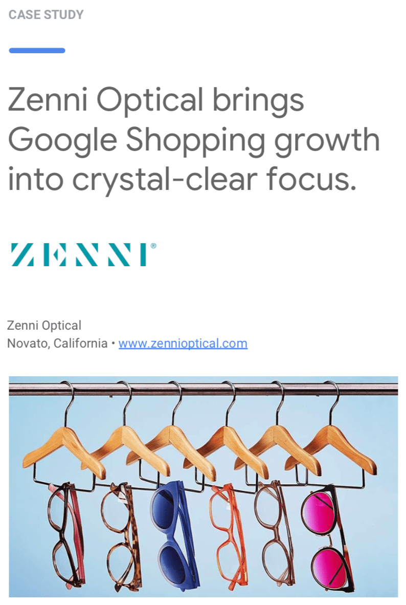 Wpromote & Zenni Optical Google Shopping case study.
