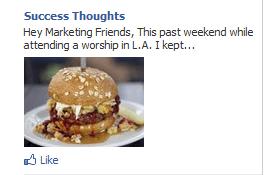 Facebook ad of hamburger