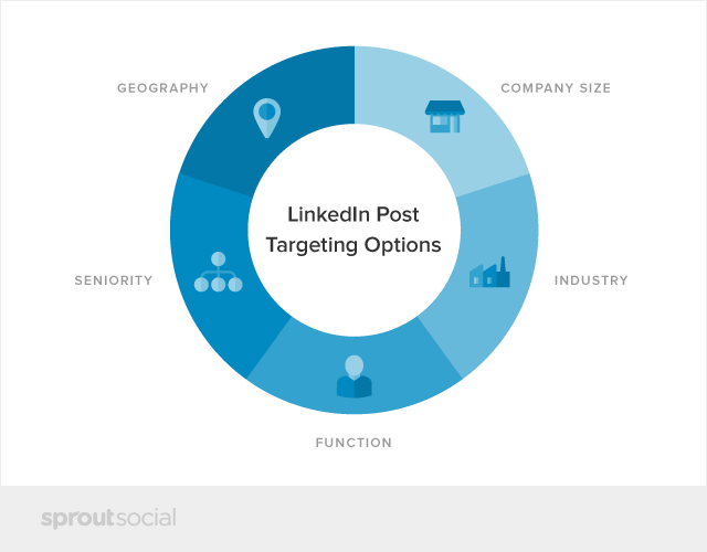 LinkedIn post targeting options: geography, company size, seniority, function, and industry