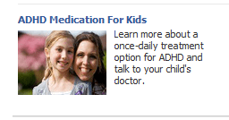 facebook ad for adhd medication for kids with photo of mother and daughter