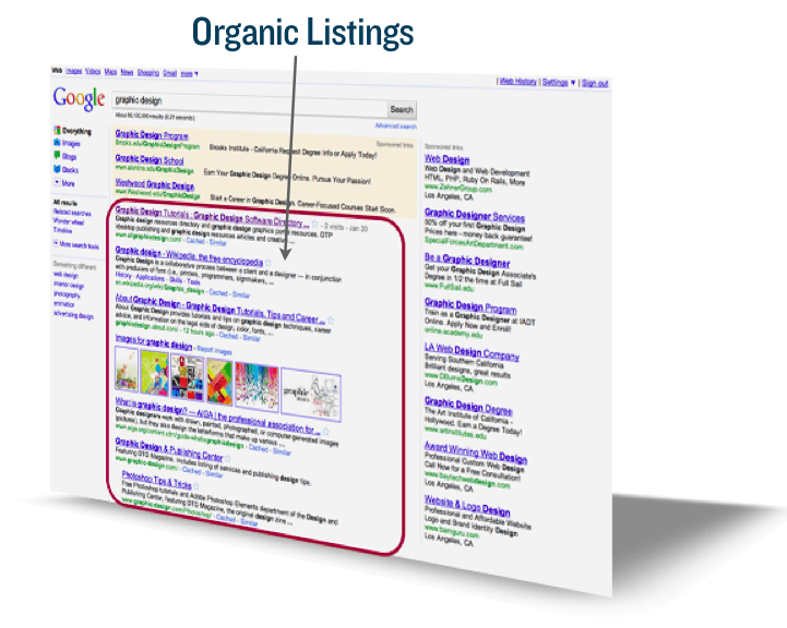 Screenshot of organic listings search results