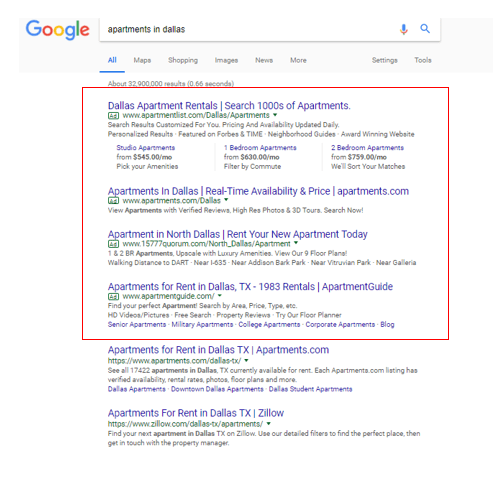 Google search results with ads