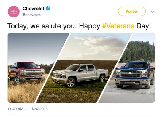 Chevrolet instagram post