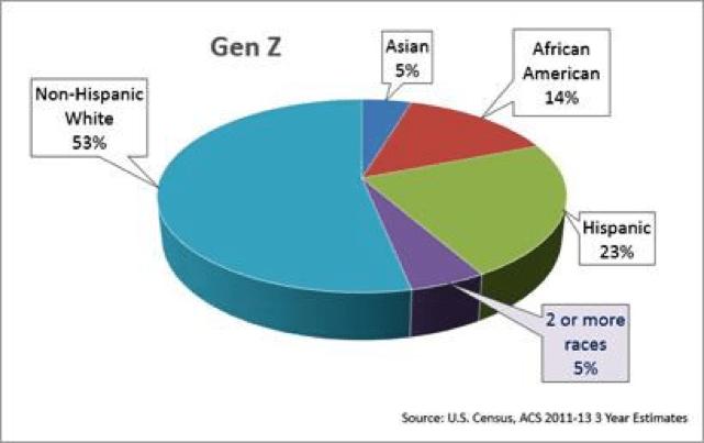 Gen Z racial diversity pie chart