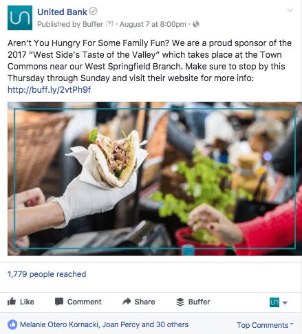 United Bank social media post.