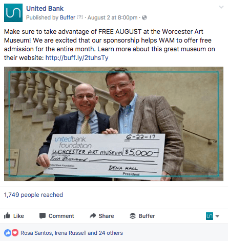 United Bank social media post.