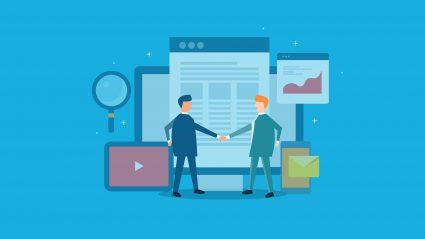illustration of business men shaking hands with website elements on blue background