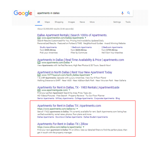Google search results organic listings