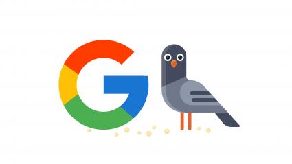google G logo next to illustration of pigeon