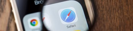 Phone with Safari browser icon