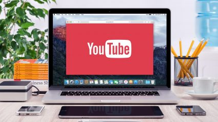Computer screen with YouTube logo in browser window