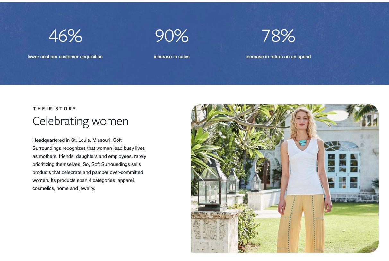 facebook case study screenshot woman soft surroundings