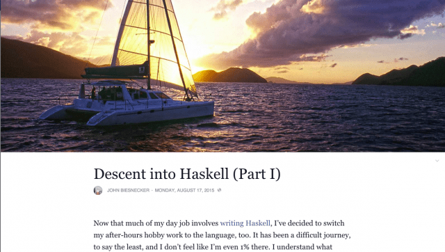 "Screenshot of Facebook Notes titled ""Descent into Haskell (Part I)"