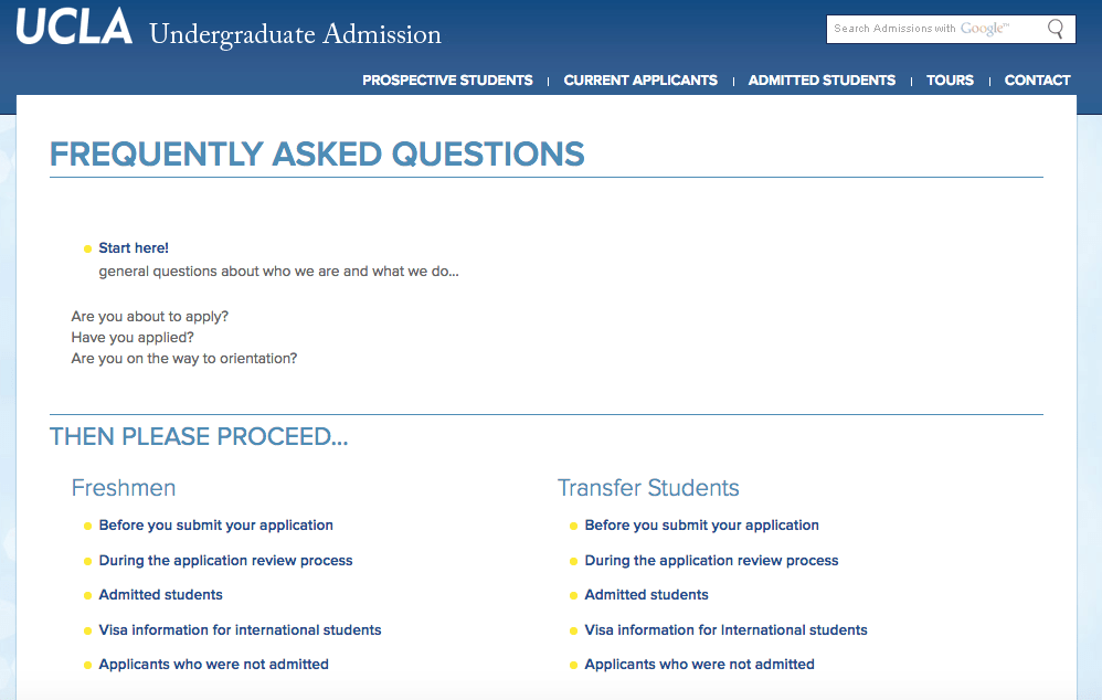 Example of UCLA FAQs page with links to other pages
