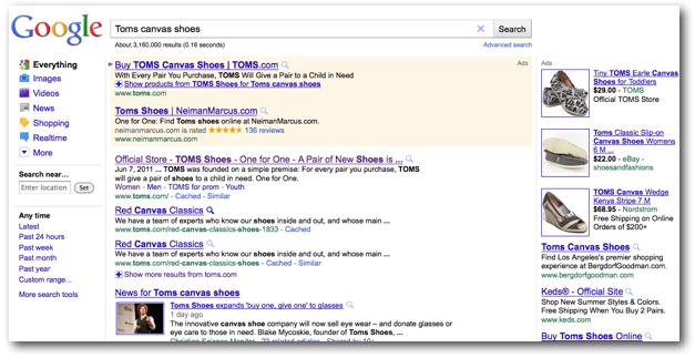 Google search regarding TOMS.