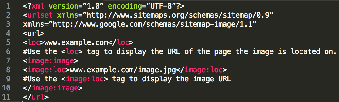 site code showing image sitemap usage