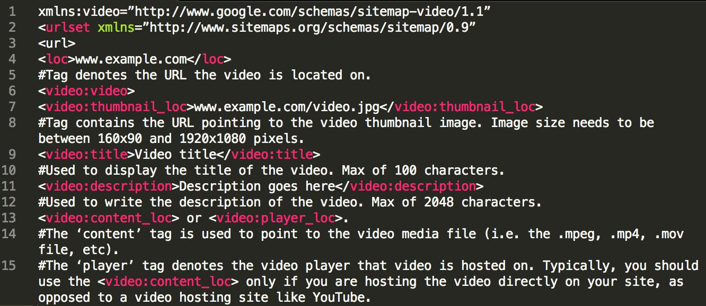 website code showing video sitemaps