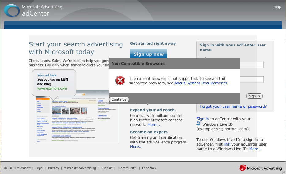screenshot showing browser error
