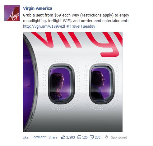 facebook ad for Virgin America