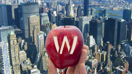 "Hand holding apple with ""W"" carved into the skin"