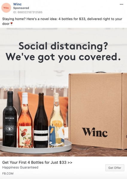 WINC COVID-19 creative ad for wine subscription