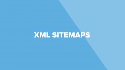 words xml sitemaps on blue background