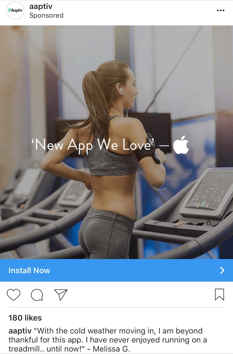 aaptiv product sponsored ad