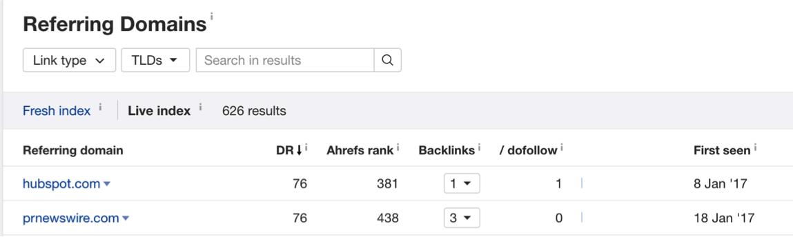 ahrefs referring domains screenshot