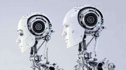 female and male white robots side by side profile view