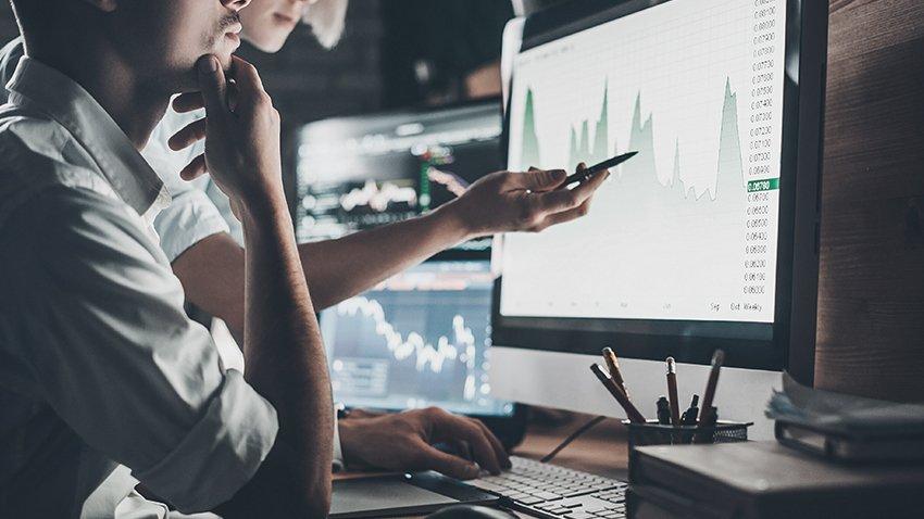 Looking at charts on computer
