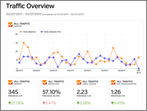 Google Analytics Traffic Overview screen