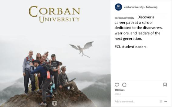 Corban University Instagram post student leaders